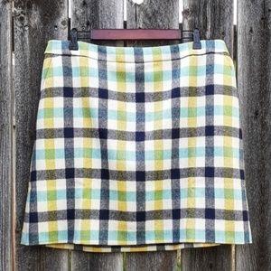 Boden British Tweed Plaid Wool NWT Skirt US14